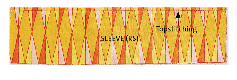Turn the sleeves right side out and topstitch