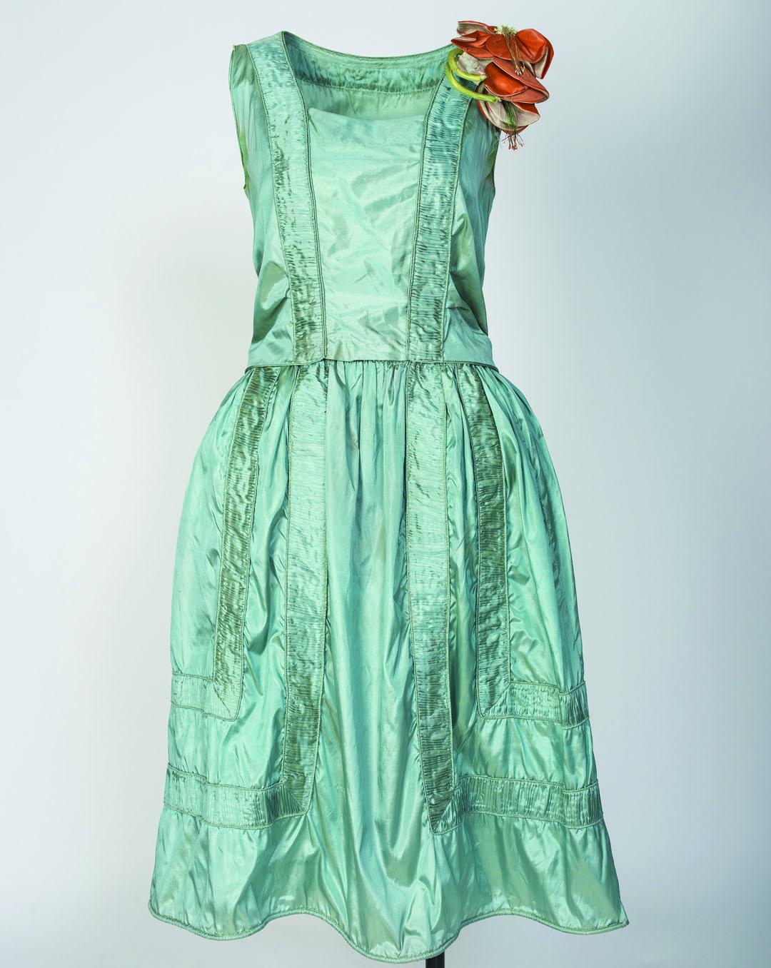 Vintage dress with silk flower at shoulder