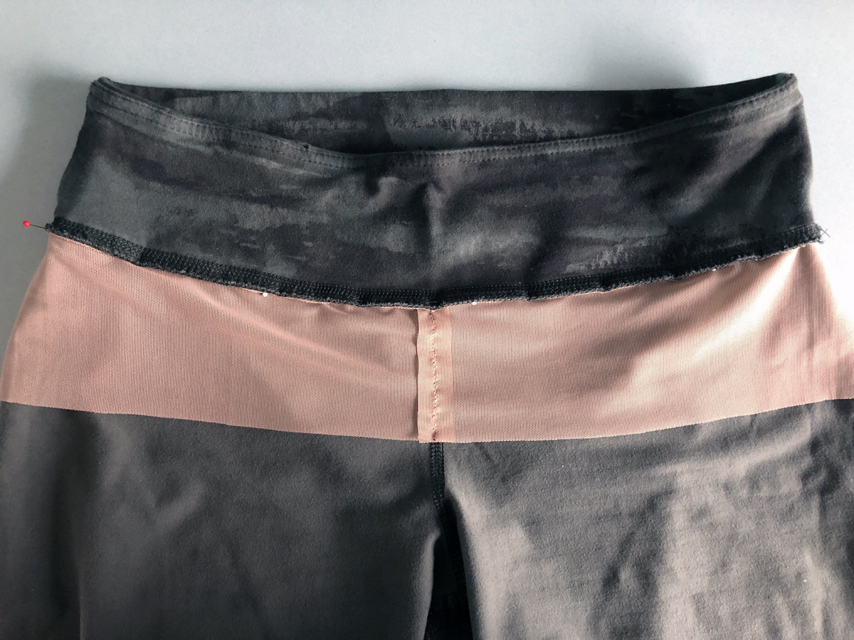 Be sure the power net lies smooth before sewing it to the pants