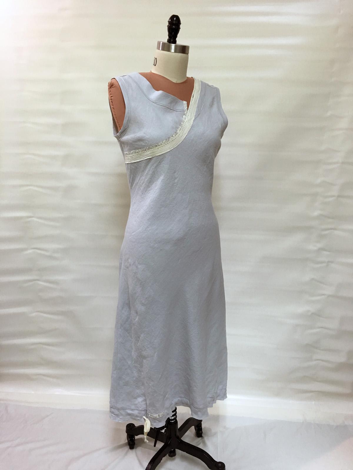 Bias-cut dress from linen tablecloth