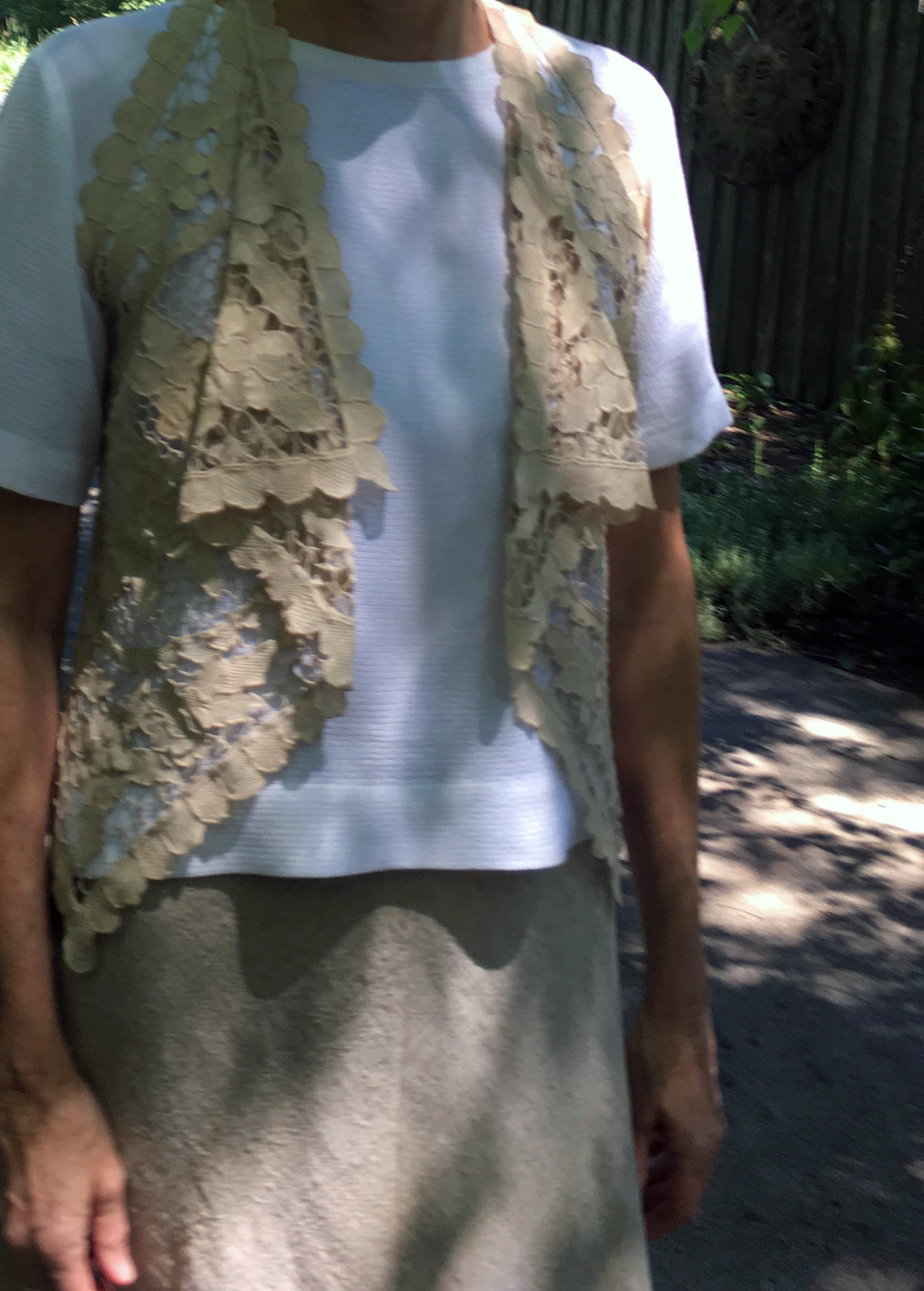 Vest from two lace dresser scarves