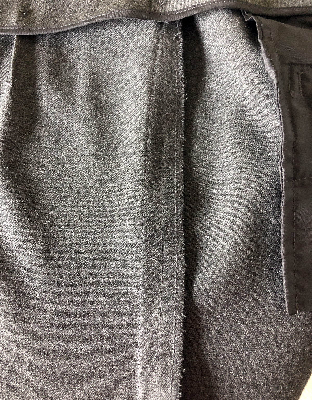 Closeup of a pants side seam, from the pants interior