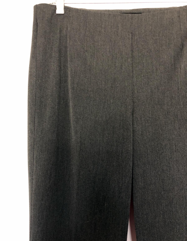Ladies' gray dress trousers on a skirt hanger