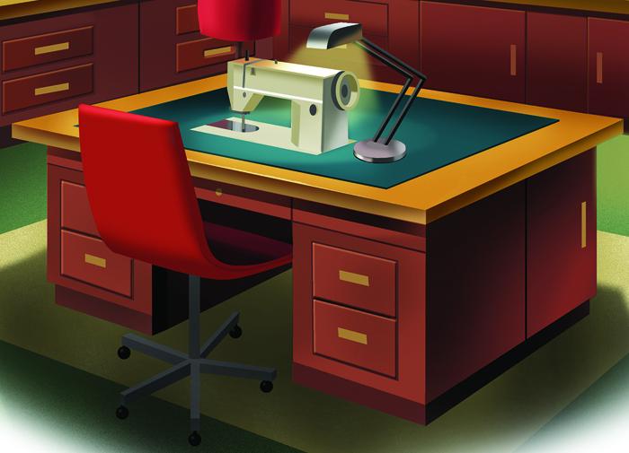 Illustration of task lighting at a sewing machine setup