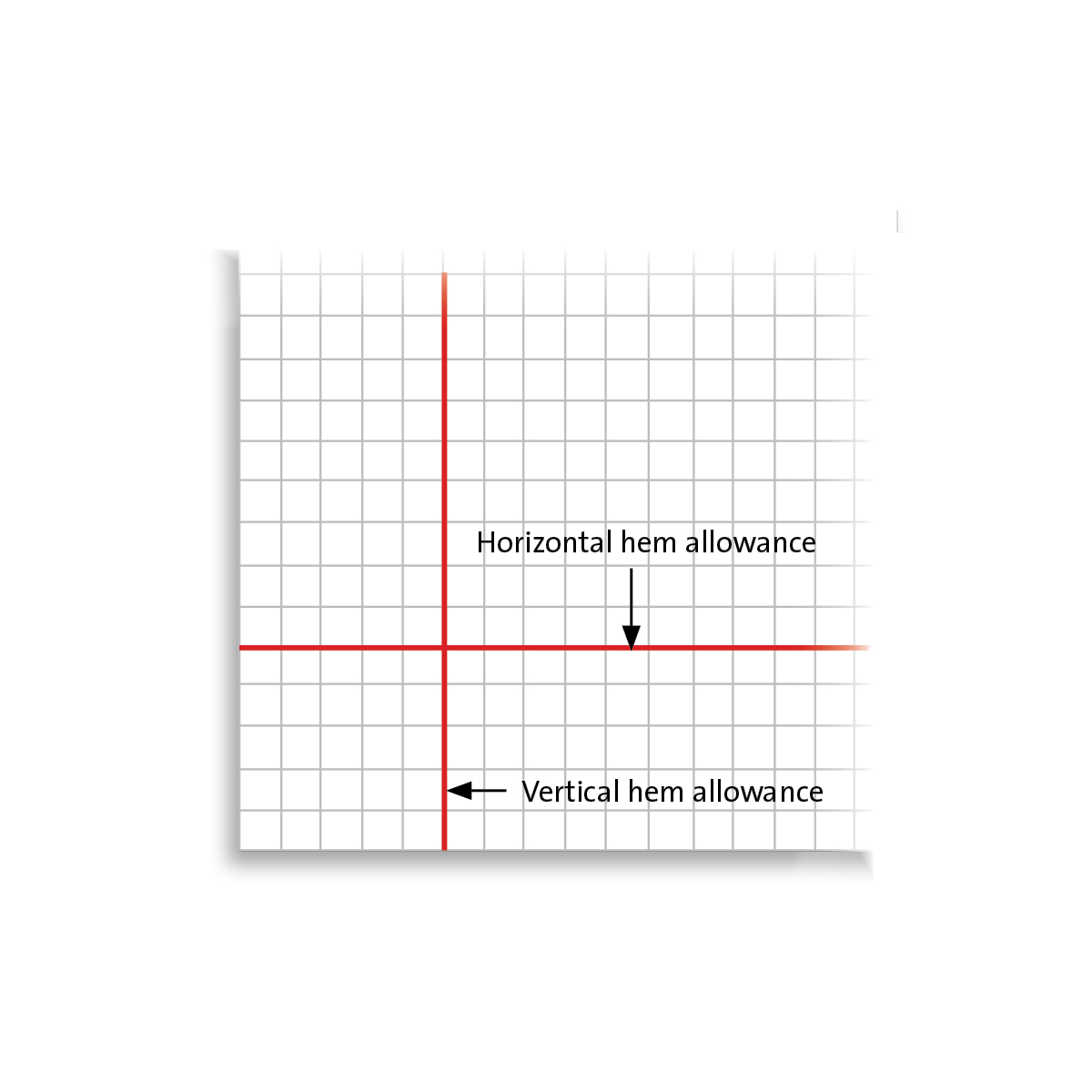 Mitered corner graph paper with two red lines intersecting at right angles