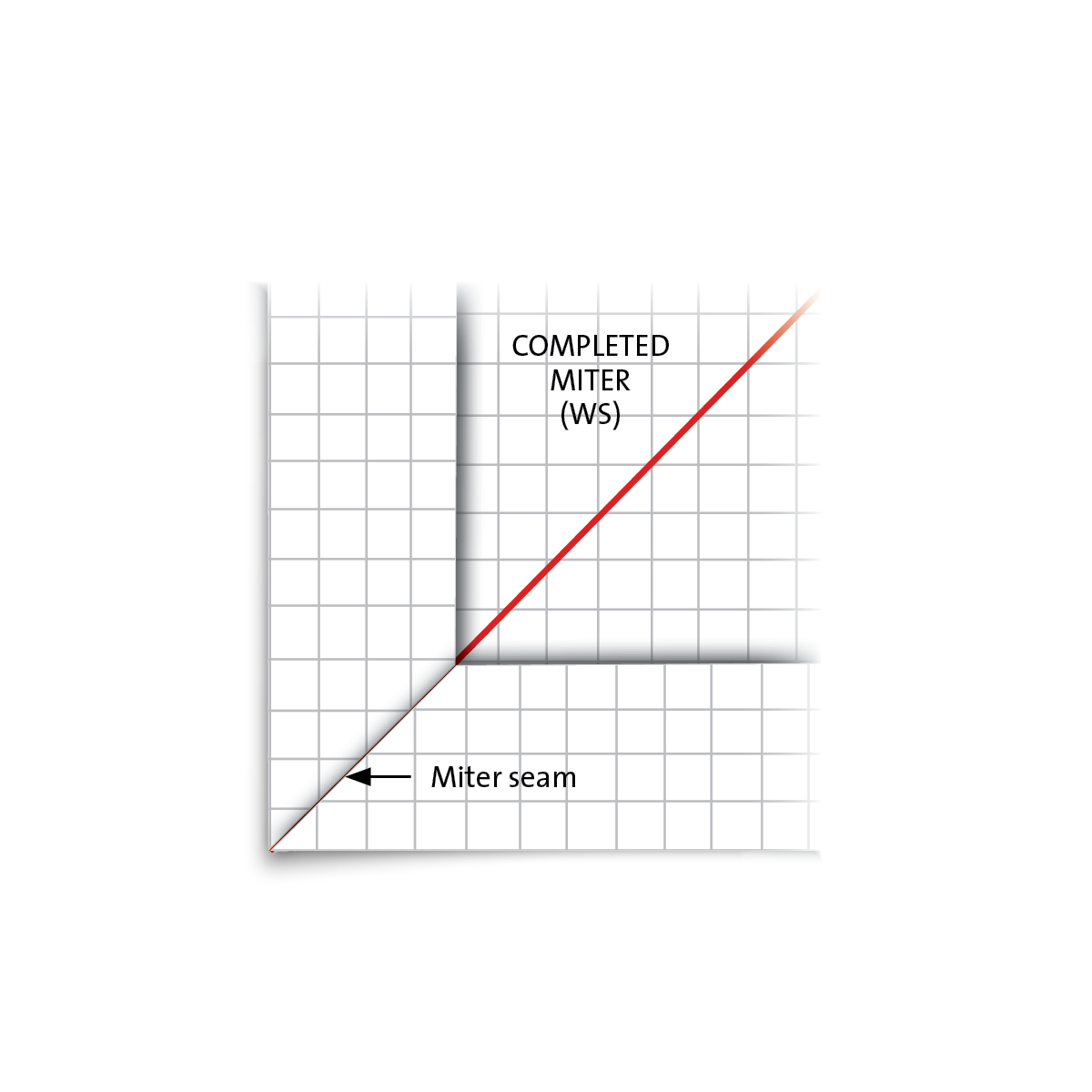 Complete mitered corner on graph paper