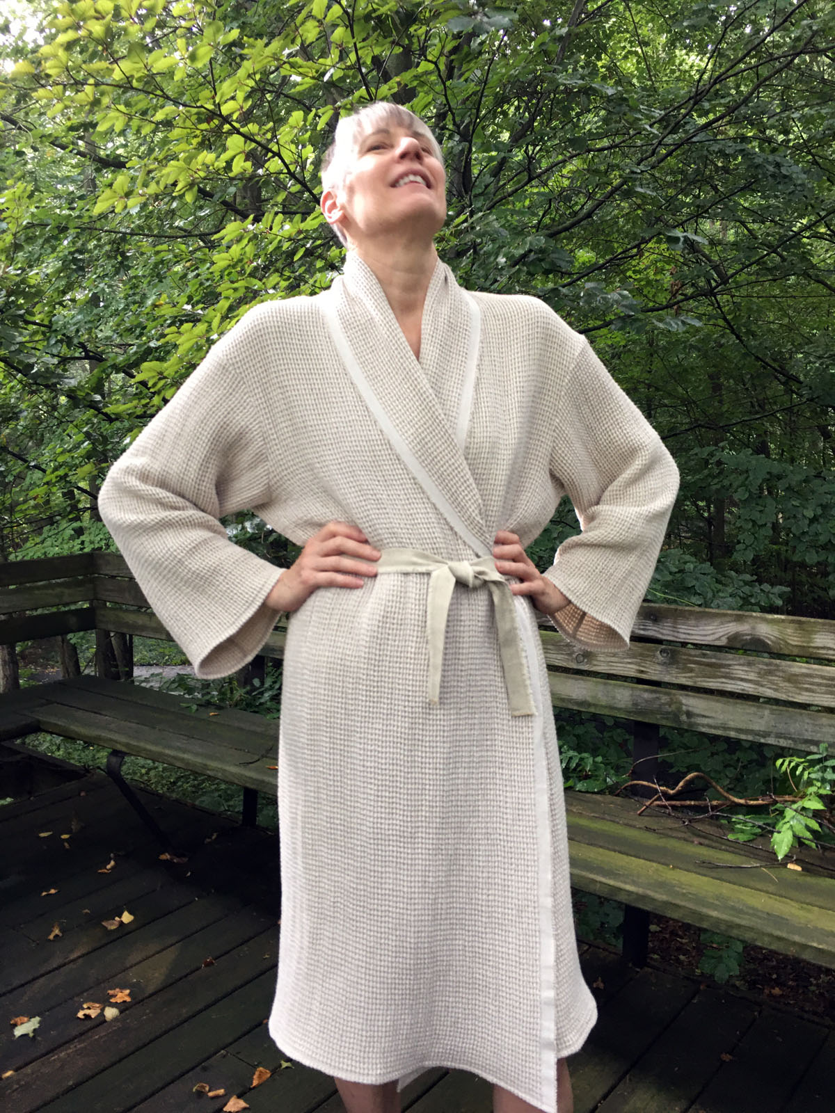 Becky Fulgoni's sewing self-care led to making herself a waffle weave linen bathrobe