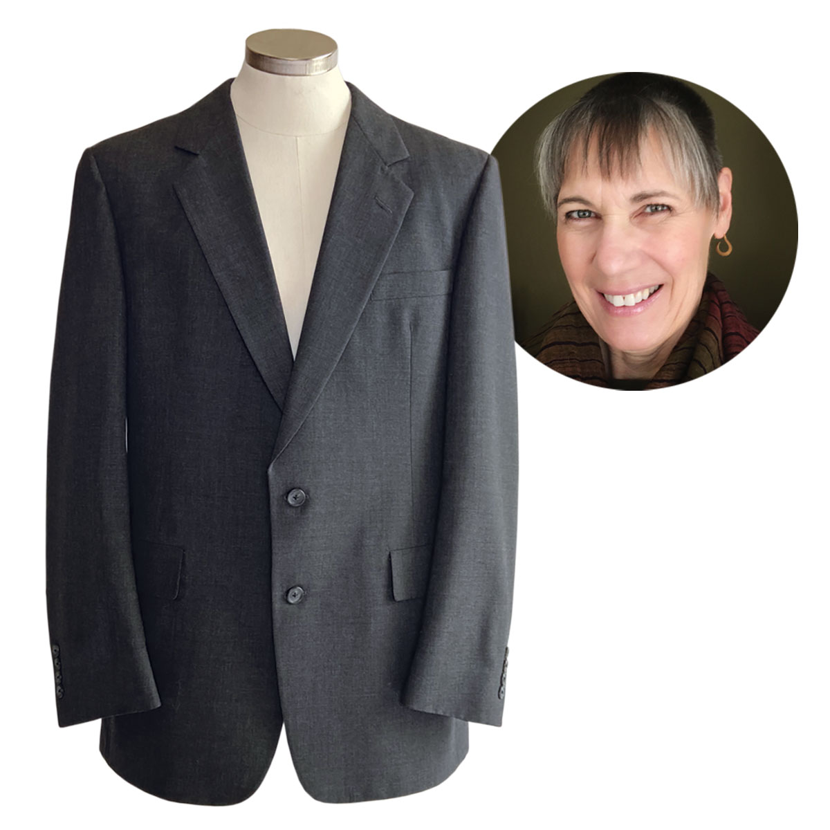 Becky Fulgoni chose a charcoal gray poly/wool blend suit to upcycle