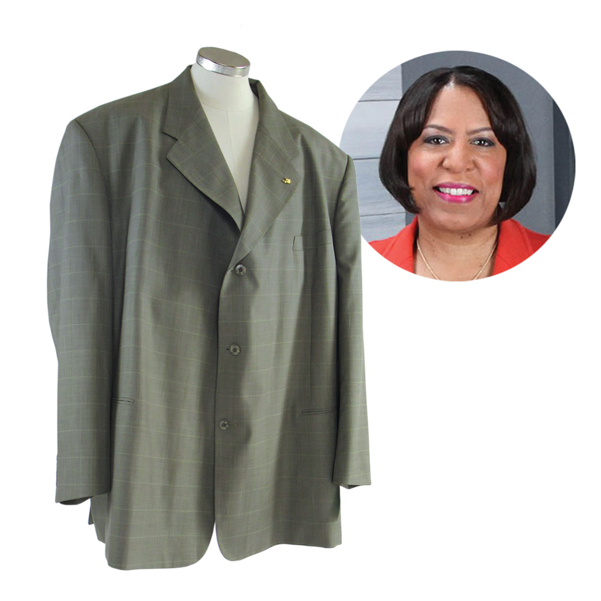 Pam Howard chose a size 56 sage green suit to upcycle