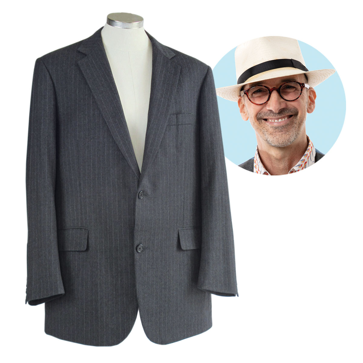 Peter Lappin chose a gray wool flannel pinstripe suit to upcycle