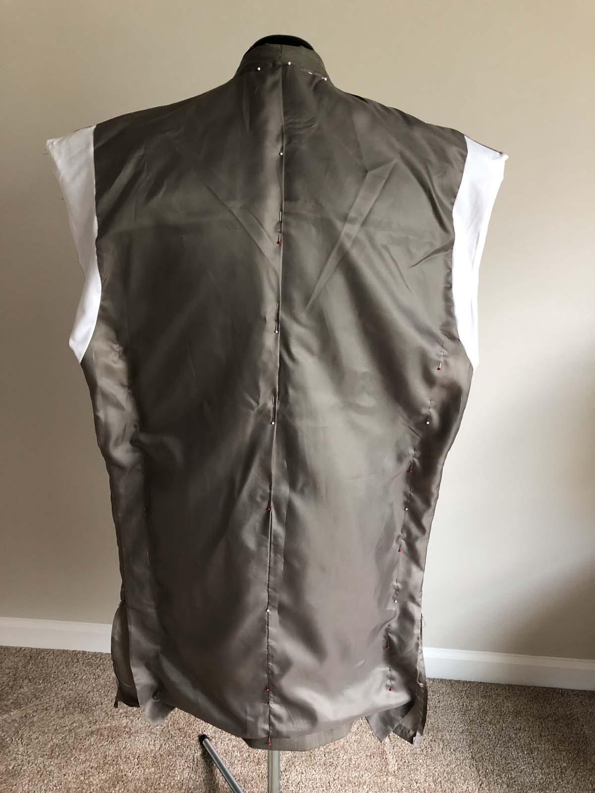 Drape-fitting the jacket lining