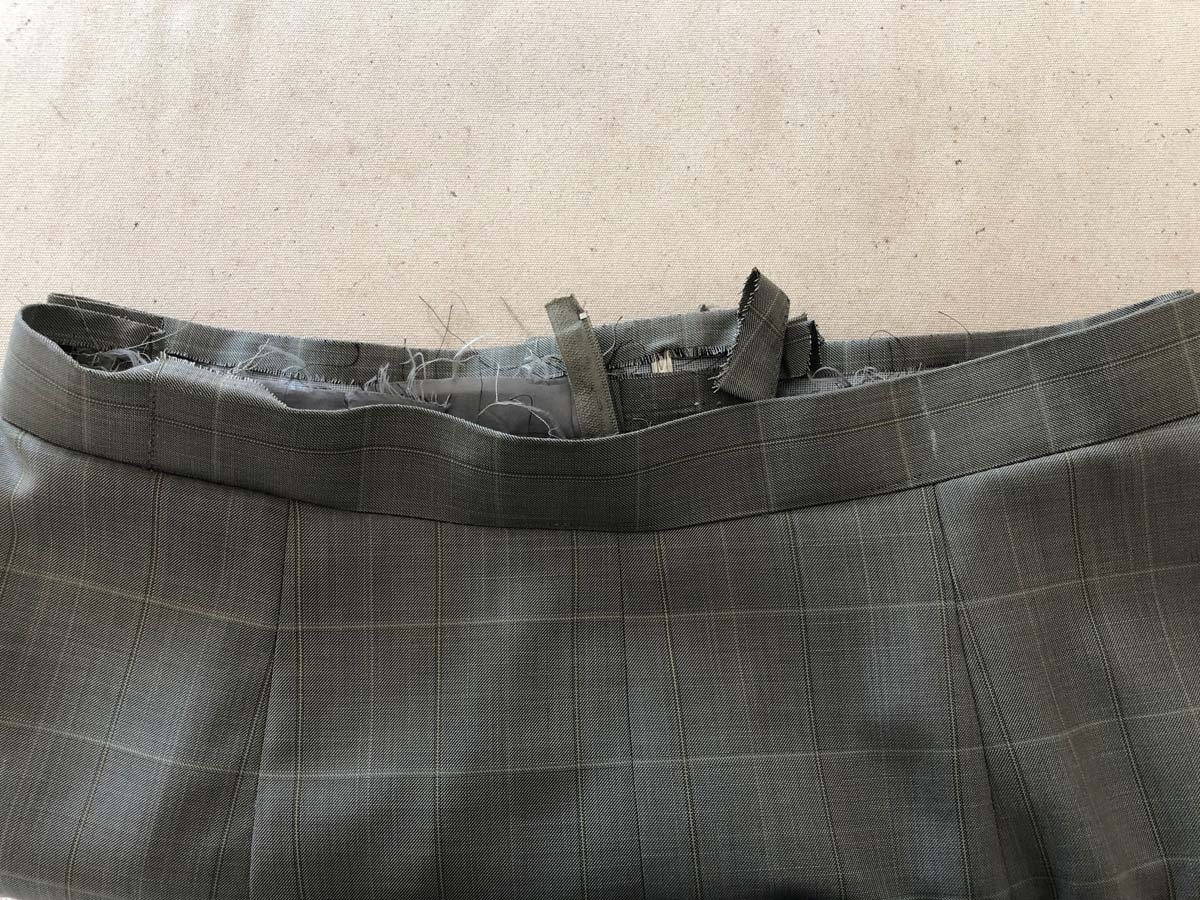 Waistband skirt front made from men's suit pants
