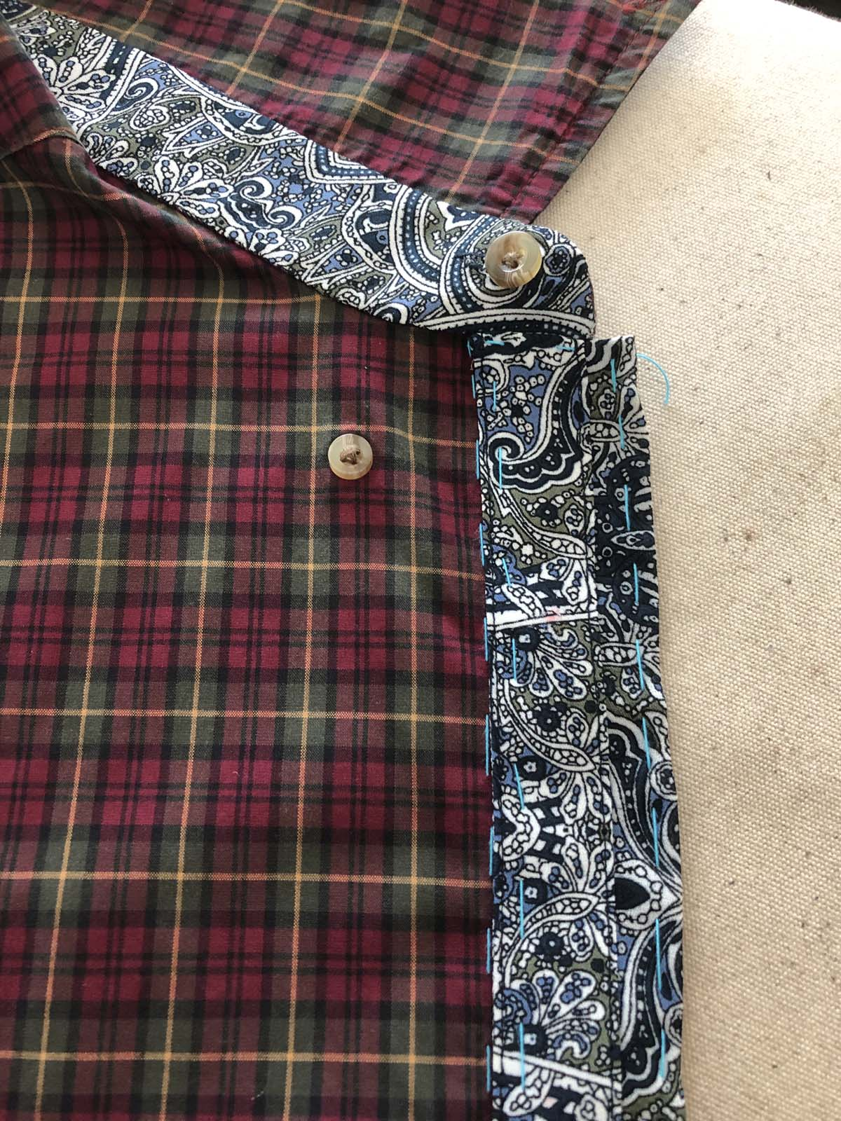 Hand-baste the front placket to the shirt front