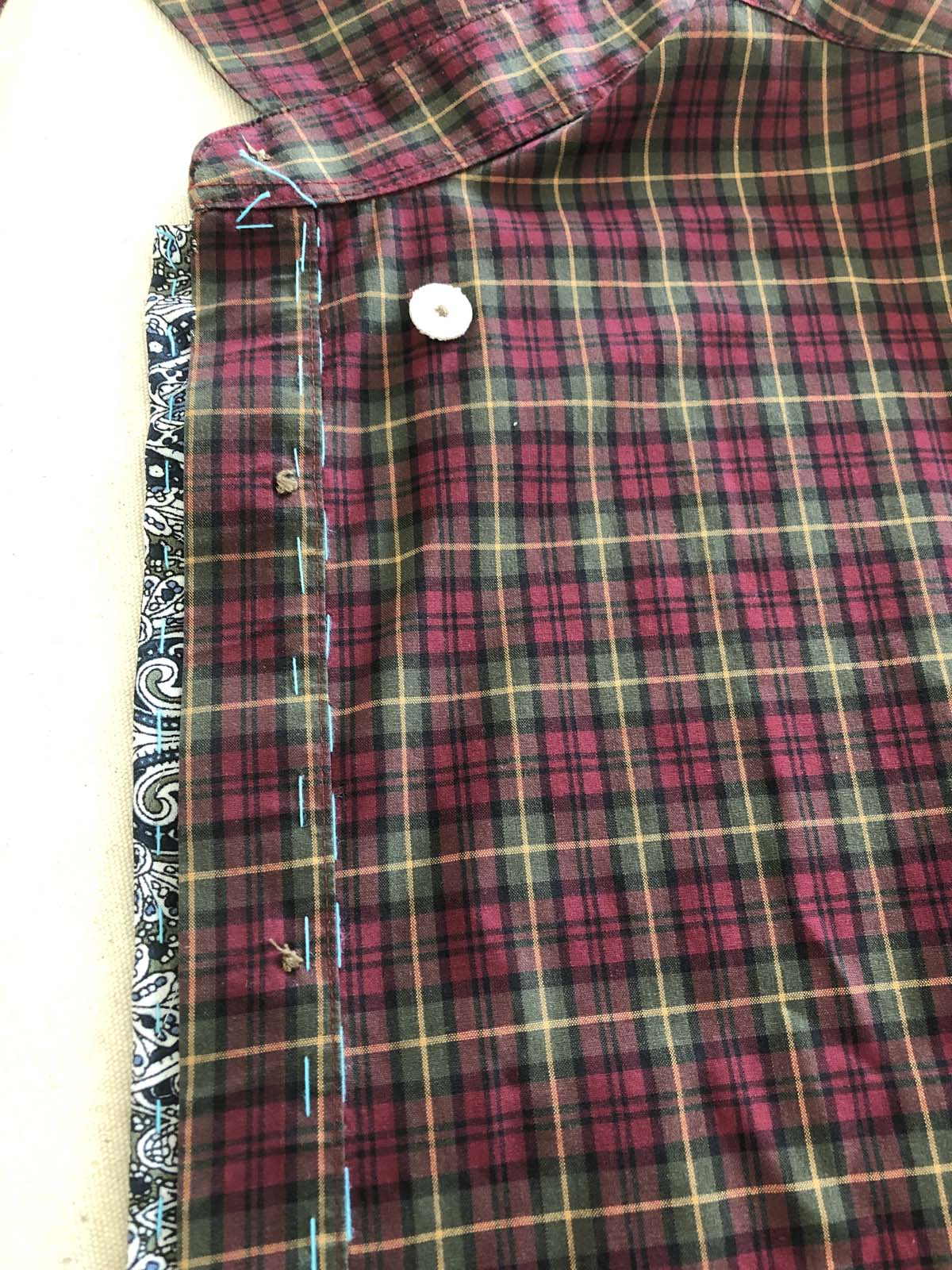 Underside view of the front placket