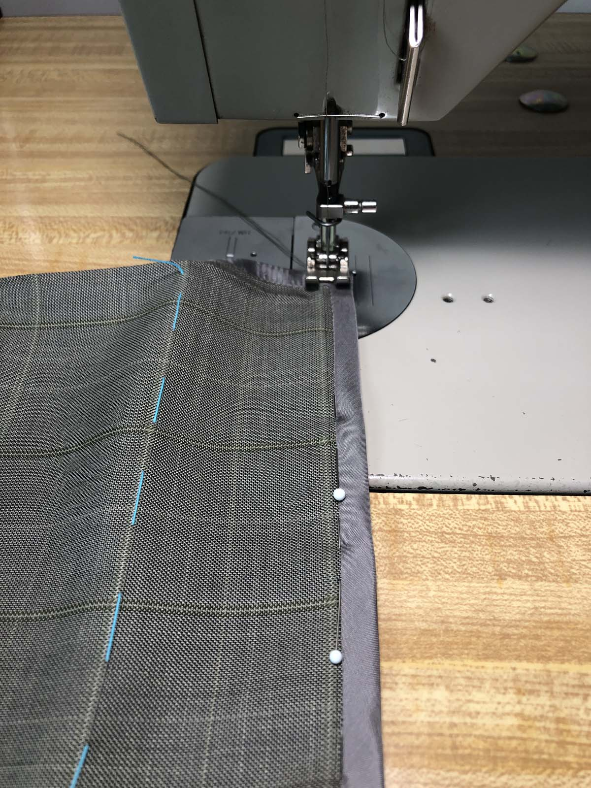 Hong Kong Seam Finish for Skirt Hem being sewn on sewing machine