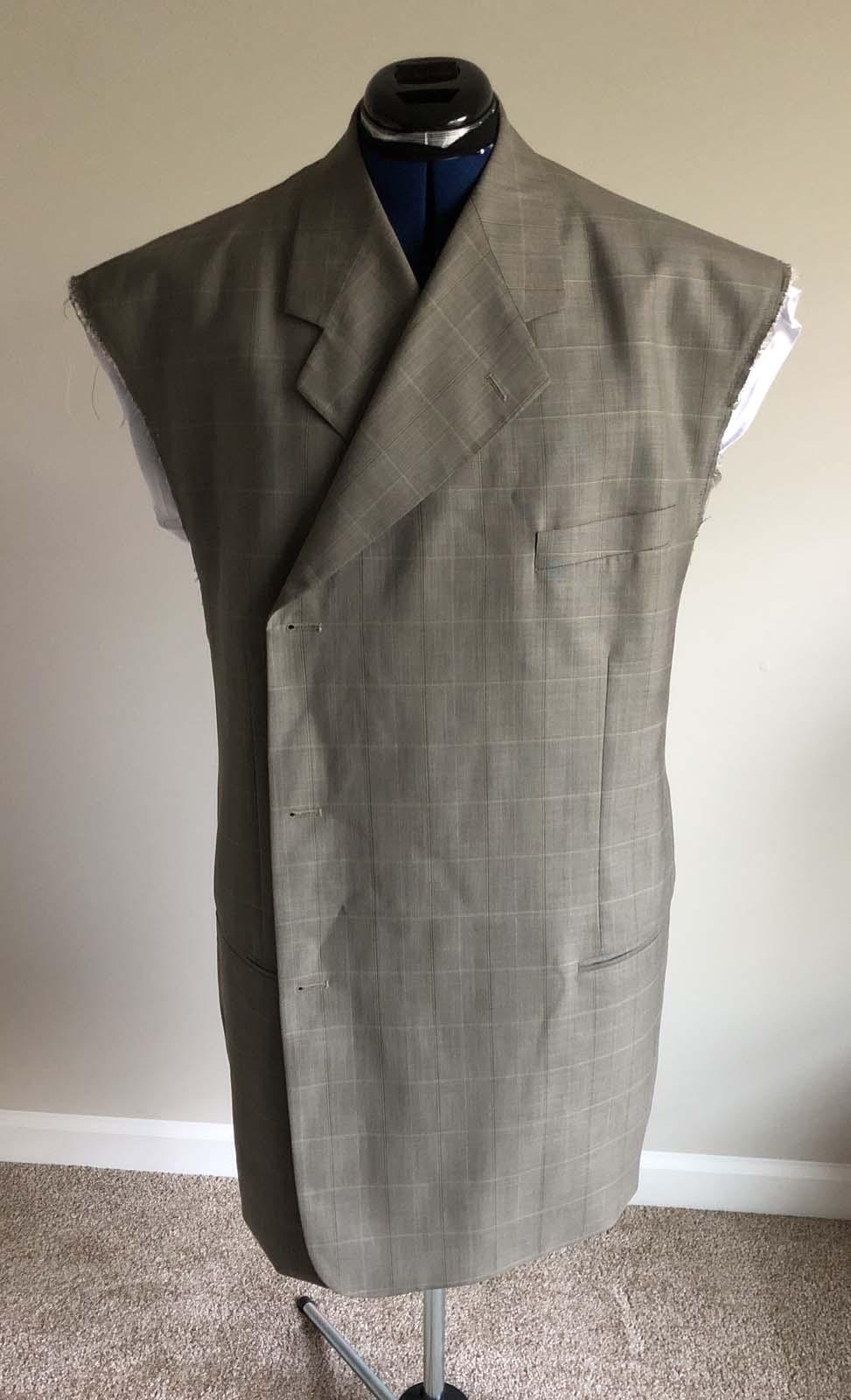 Suit jacket front before the shoulder adjustment