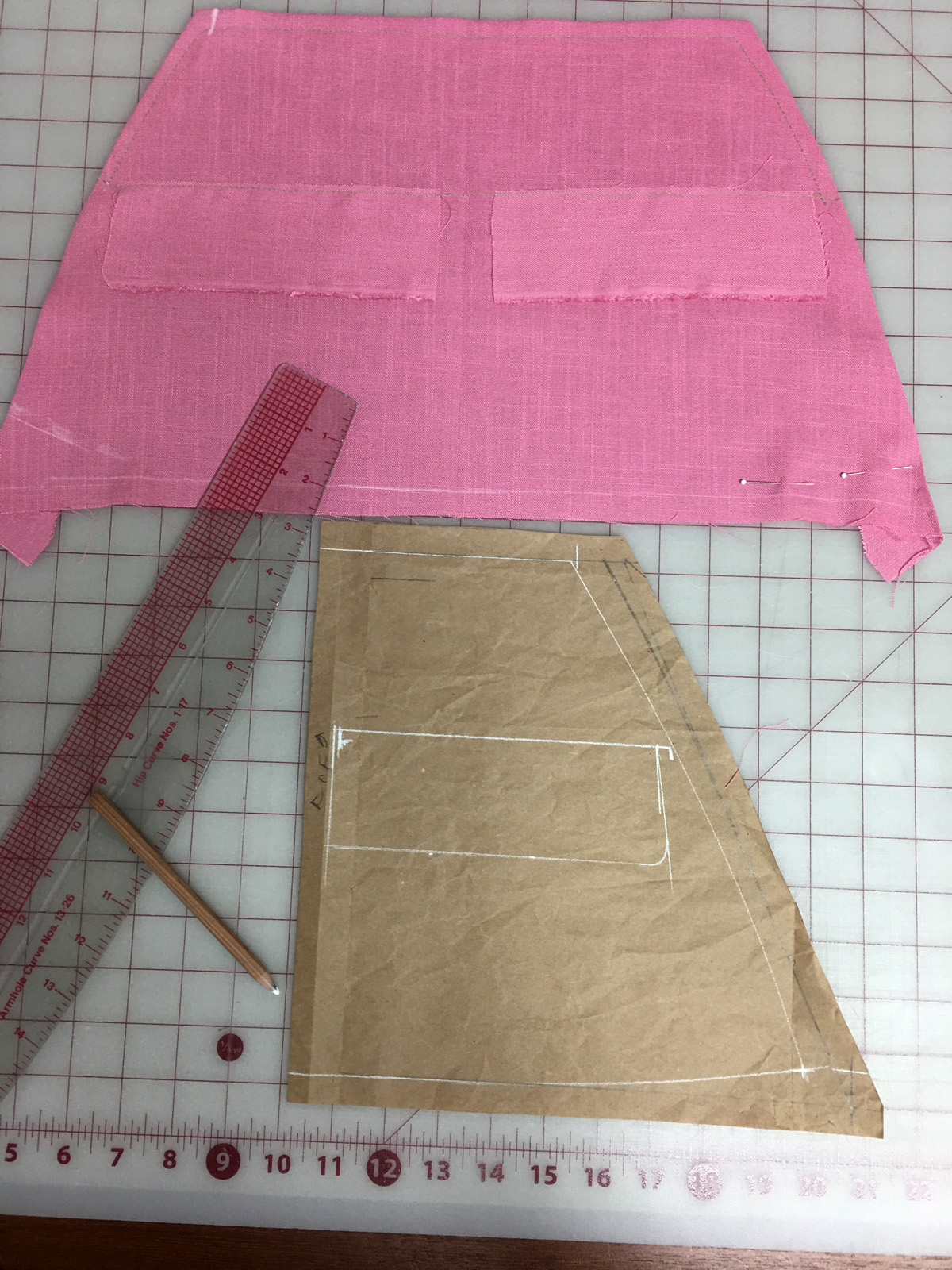 Planning the pocket flaps on the business overalls pattern