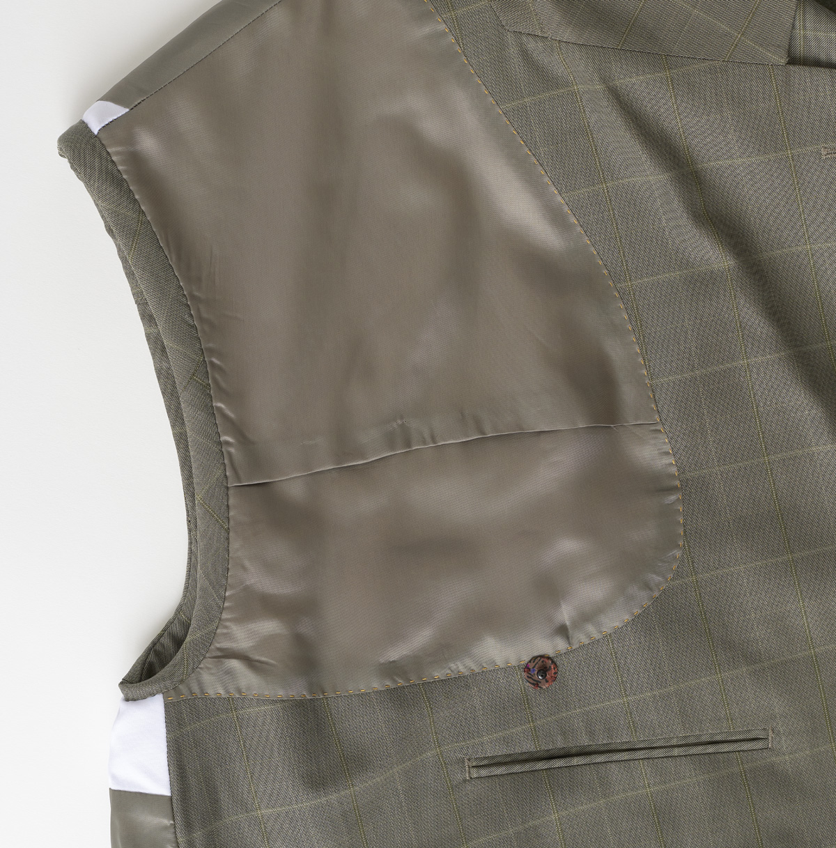 Hand-fell-stitched armhole, view from front