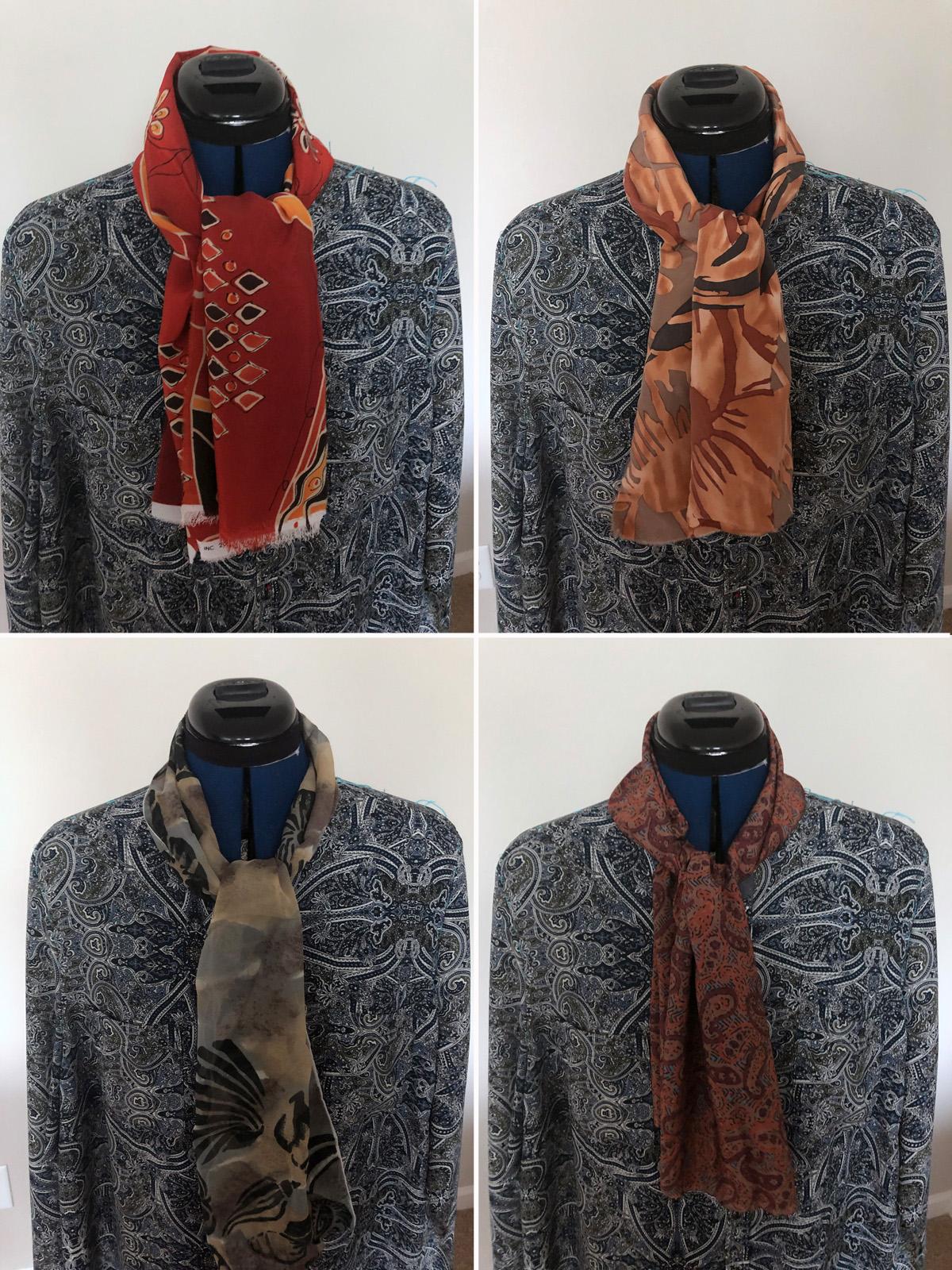 four neckline fabric options for blue paisley blouse