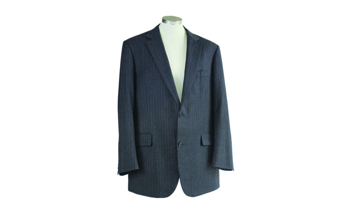 Men's dark gray pinstripe suit jacket