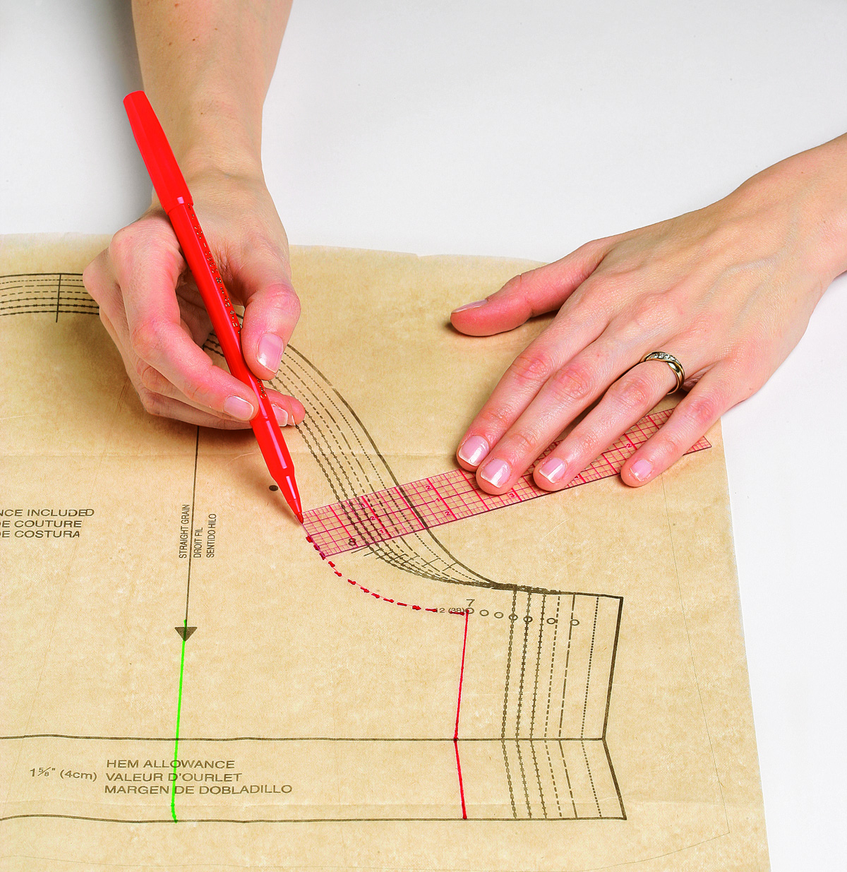 Before you walk the seamline, mark the seamline by measuring from the pattern's cutting line.