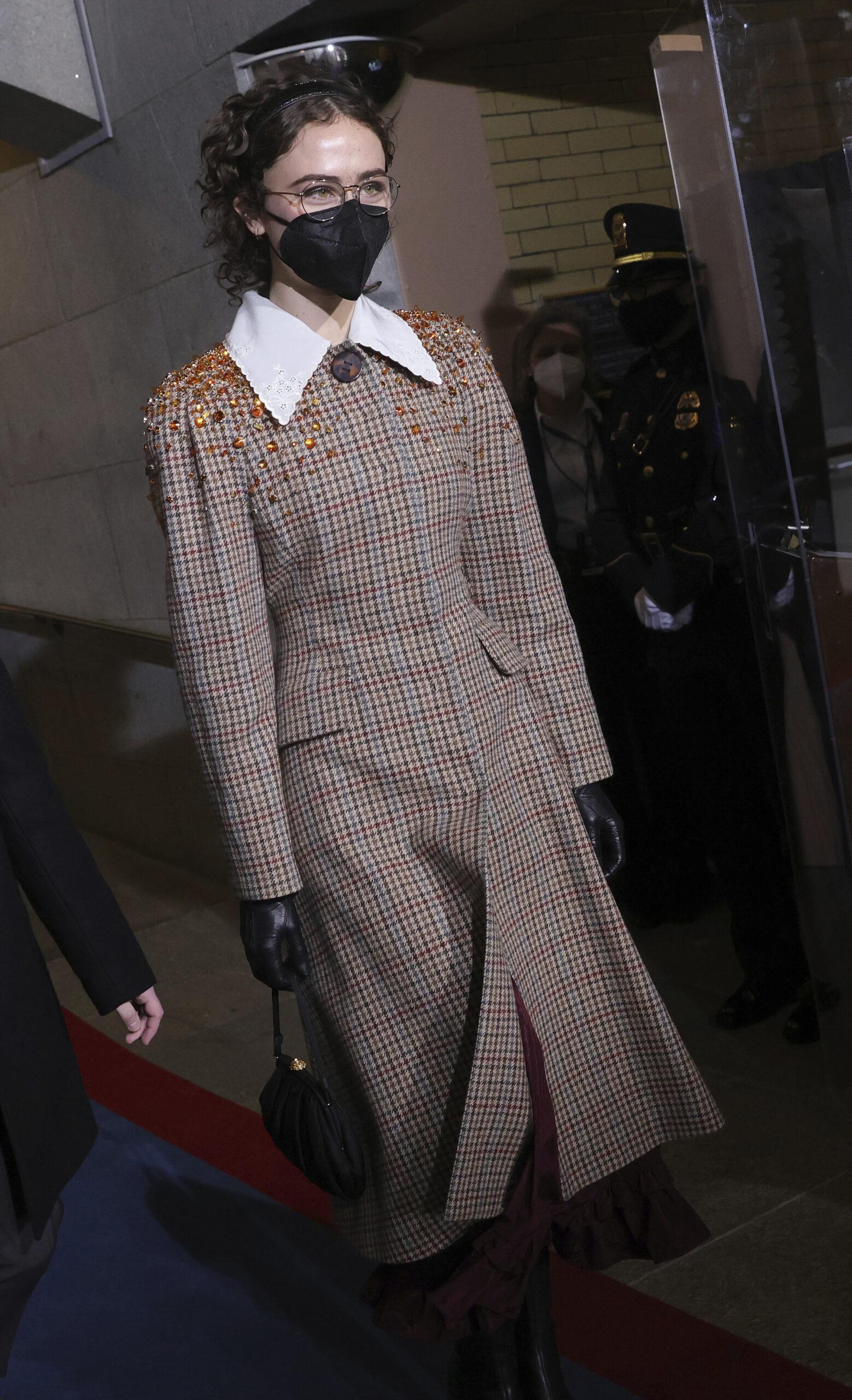 Ella Emhoff wearing an embellished plaid wool coat