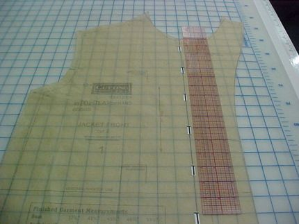 pattern divided into thirds for additional button placements