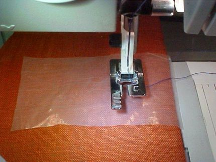 a gel stabilizer over the buttonhole edge helps reduce friction from the presser foot