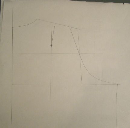 back of muslin with vertical line to adjust pattern