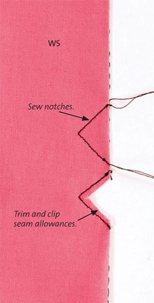 notched tucks