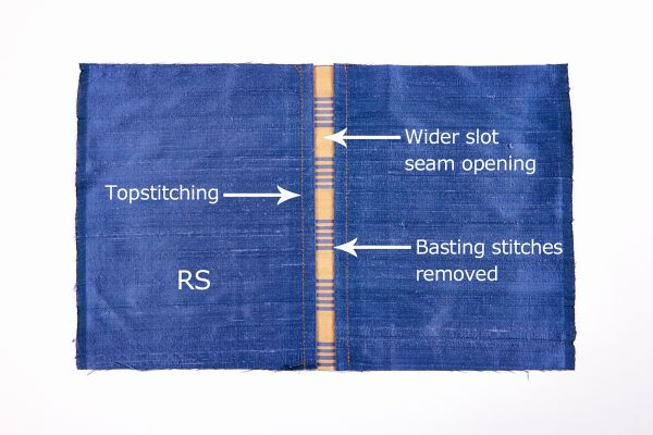 Remove the slot seam basting stitches from the right side.