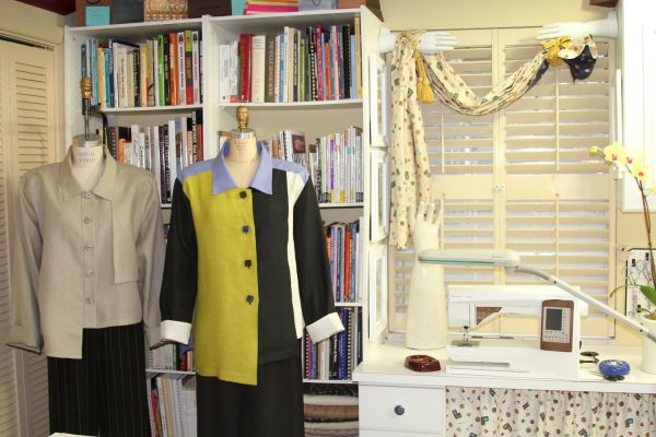 Louise Cutting's sewing room