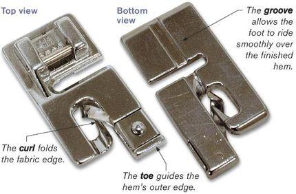 Narrow-hemming presser foot
