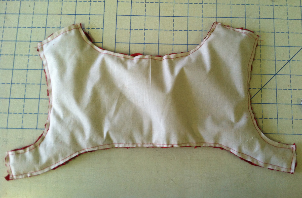 Smocked section cut to size using muslin