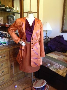 SewStylish Fall 2104 semifinalist - Hand-painted Jacket with High-Low Hem