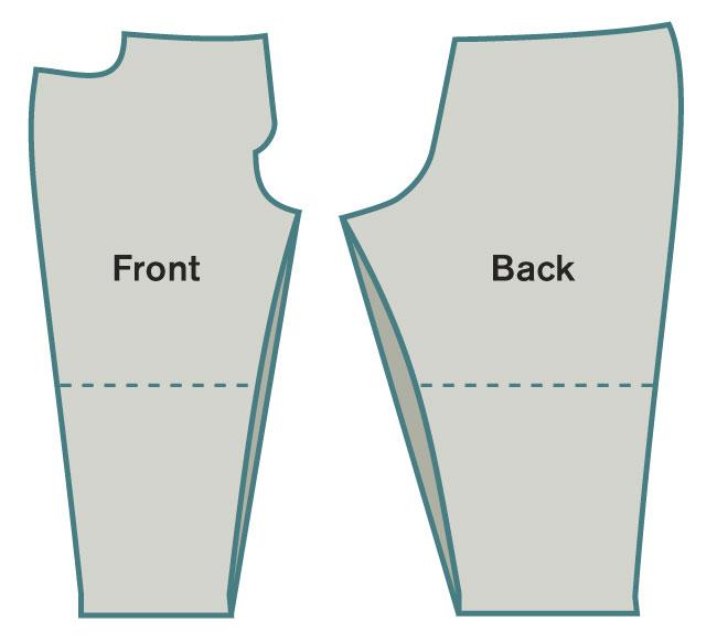 Straighten the inseam at the knee