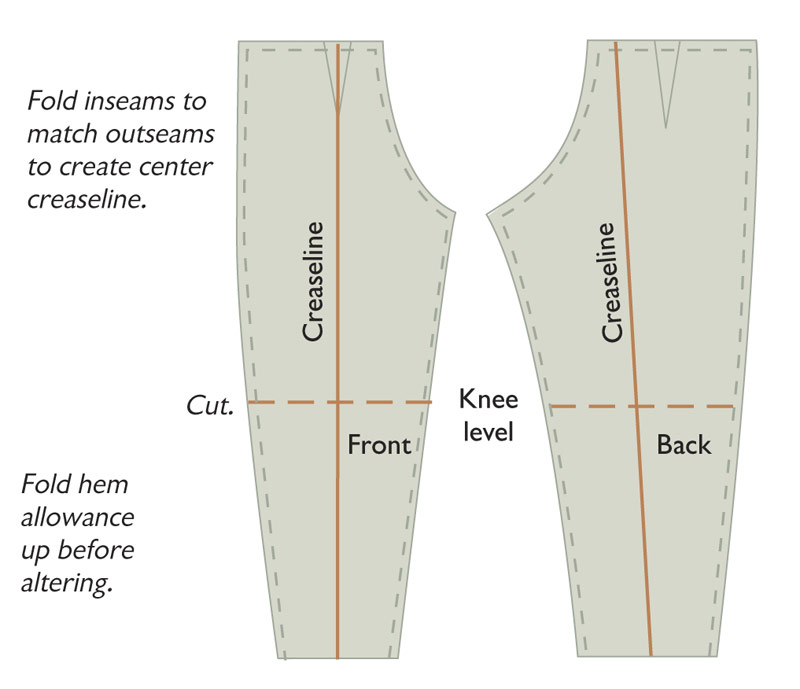 Divide front and back at knee