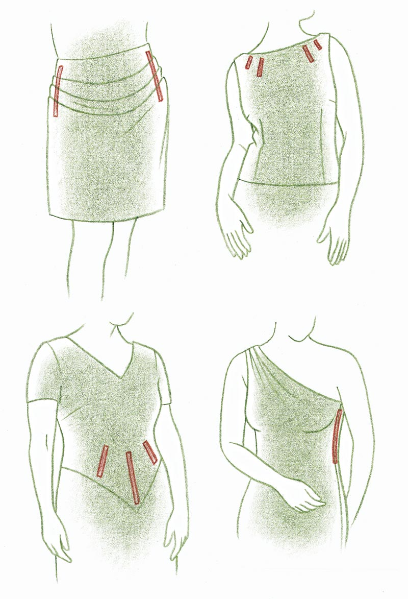 Sculpted folds, bodice, neckline, sideseam