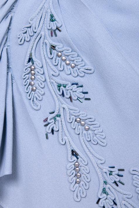 Embellished blue dress, detail