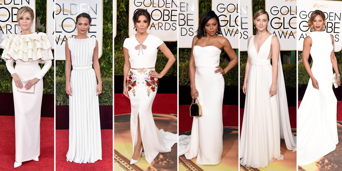 golden globe white dress 2016