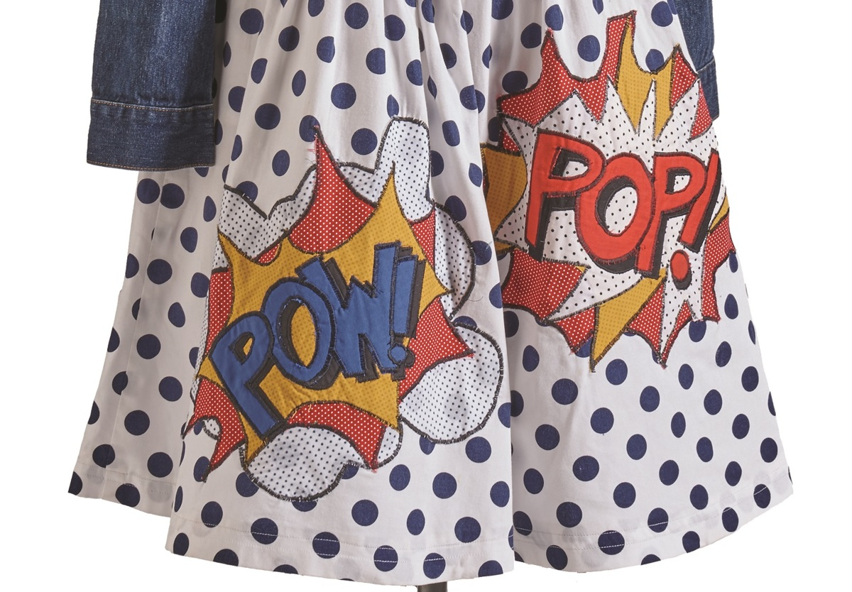 pop art dress jean jacket close-up