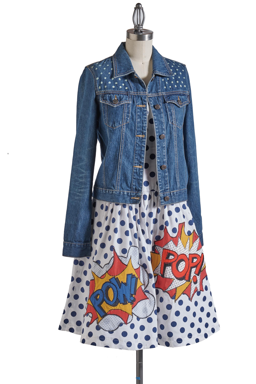 pop art dress jean jacket