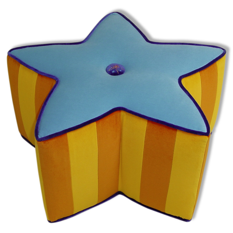 Small Turquoise Star Pouf
