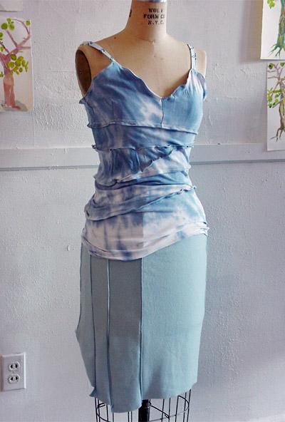 Tie-dye tank, blue skirt