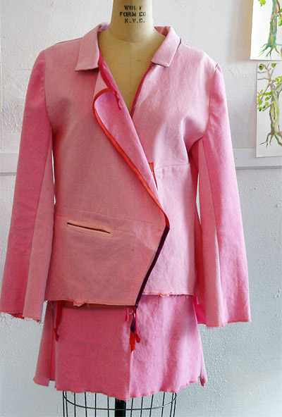 Pink jacket and skirt