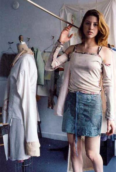 Map skirt, white top