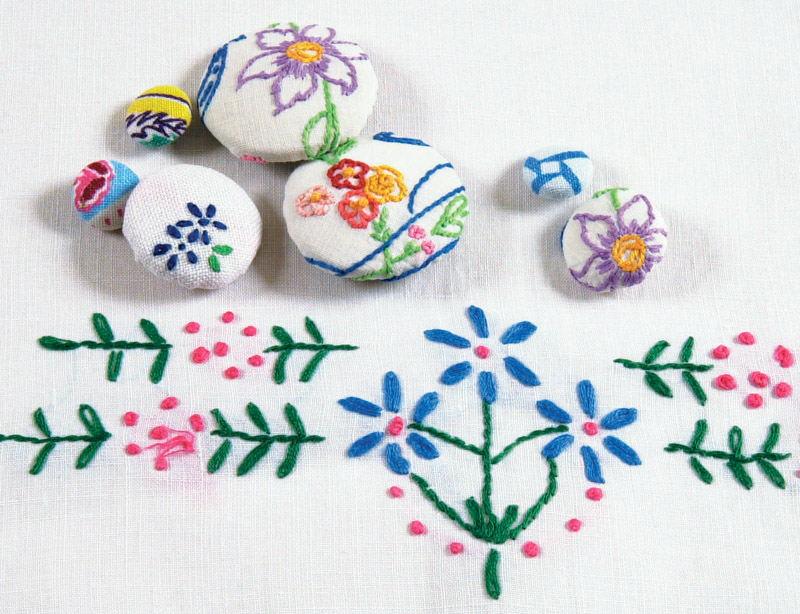 Buttons covered with hand-embroidered fabric