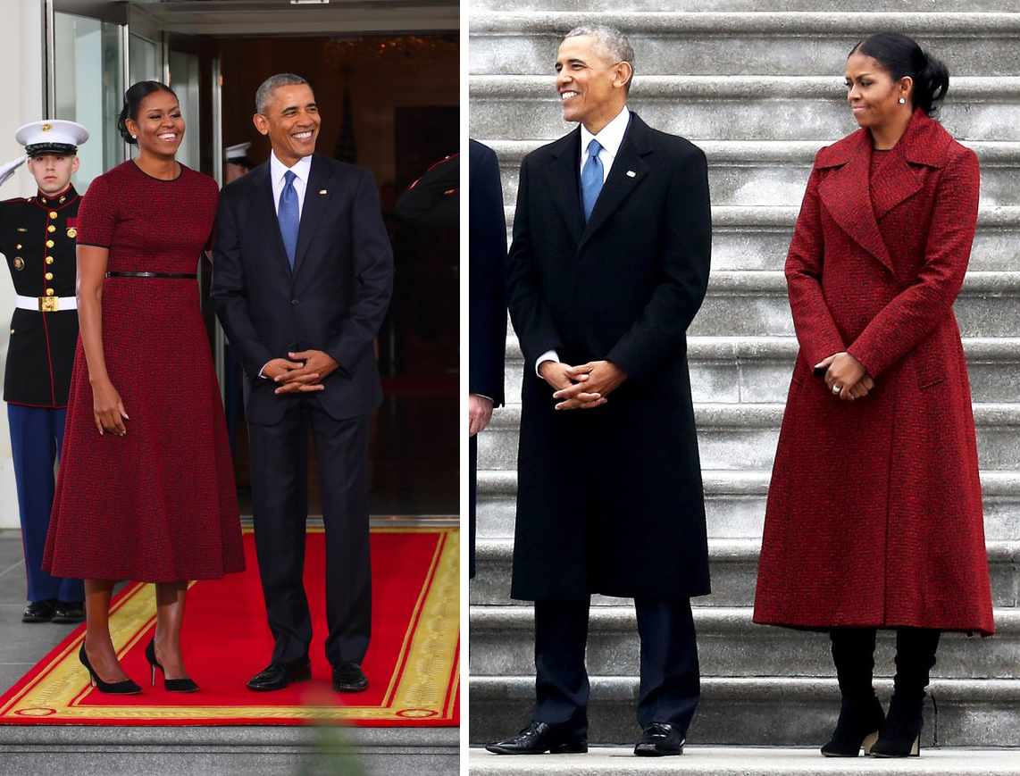 The Obamas Inauguration Day 2017 Red dress