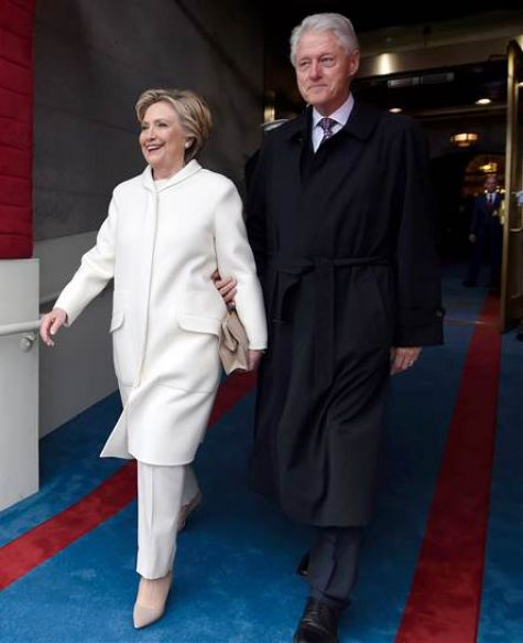 Hillary Clinton in white pantsuit inauguration day 2017