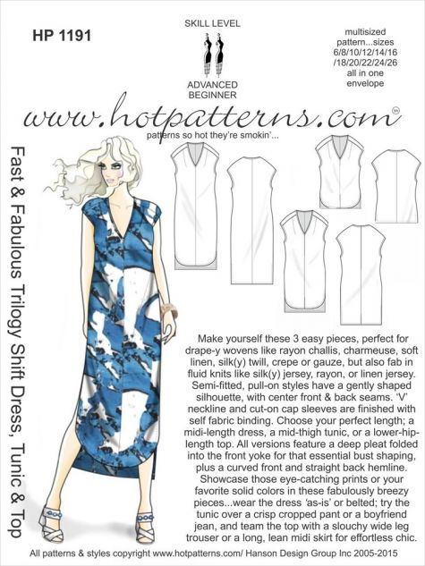 Hot Patterns Fast & Fabulous Trilogy Shift Dress, Tunic & Top